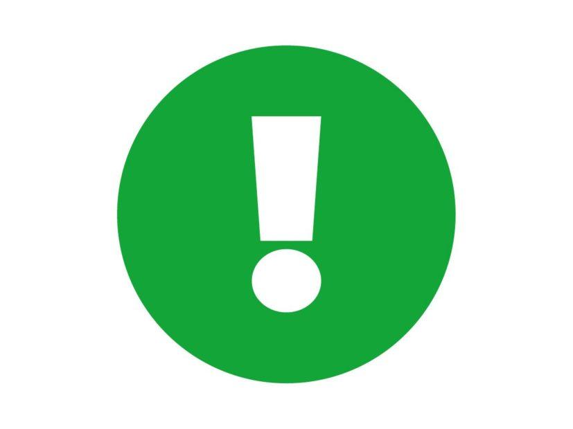 GLaszuk ikonka zielona 4x3 uwaga wykrzyknik