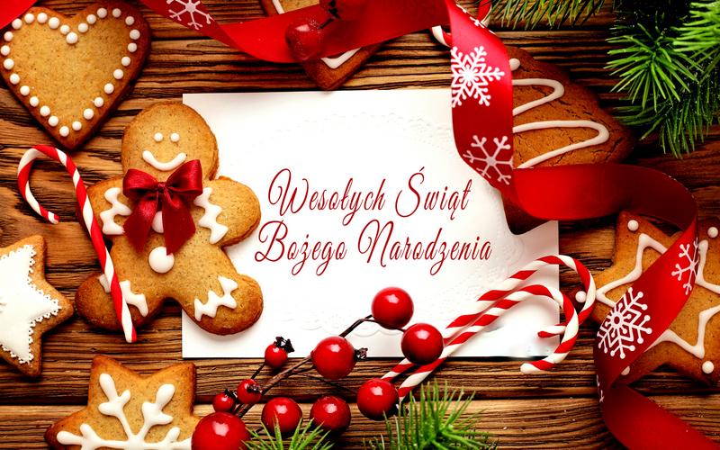 wesolych swiat bozego narodzenia kartka zyczenia swieta pierniki jagody dekoracje