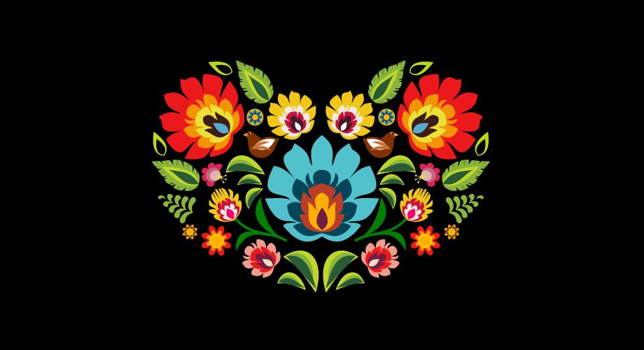 Serce wykonane z elementów polskiego ludowego wzoru kwiatowego